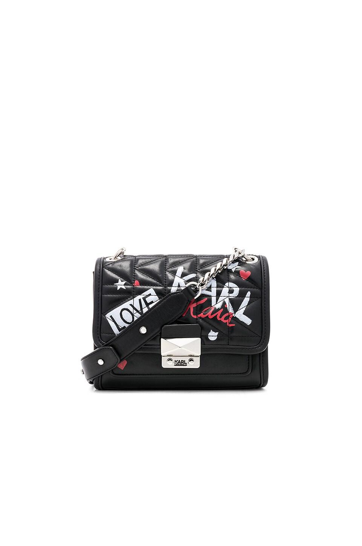 KARL X KAIA Graffiti Mini Shoulder Bag in Black