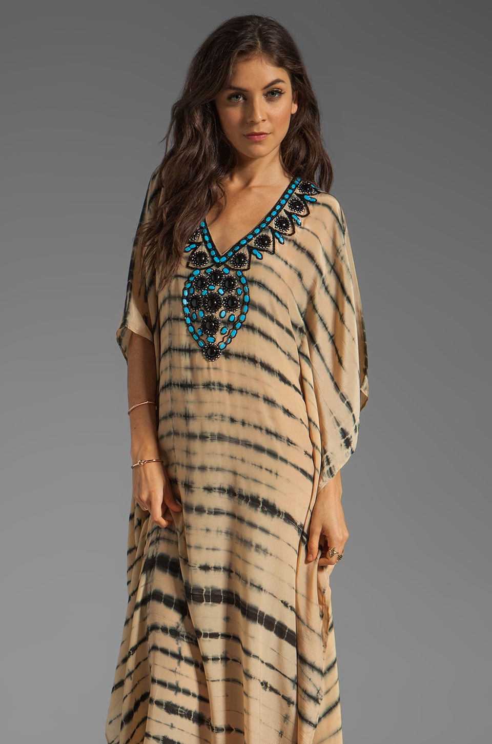 Karina Grimaldi Nassau Long Caftan Dress in Black Nude