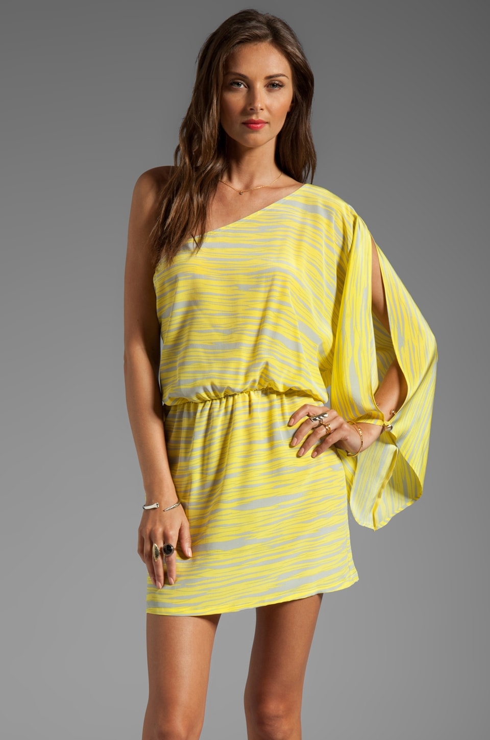 Karina Grimaldi Kim Print One Shoulder Mini in Yellow Zebra Print