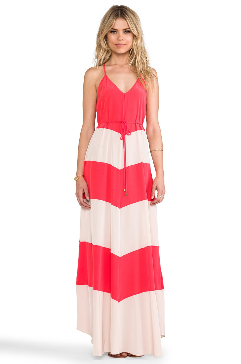 Karina Grimaldi Somer Combo Maxi Dress in Red & Nude Combo