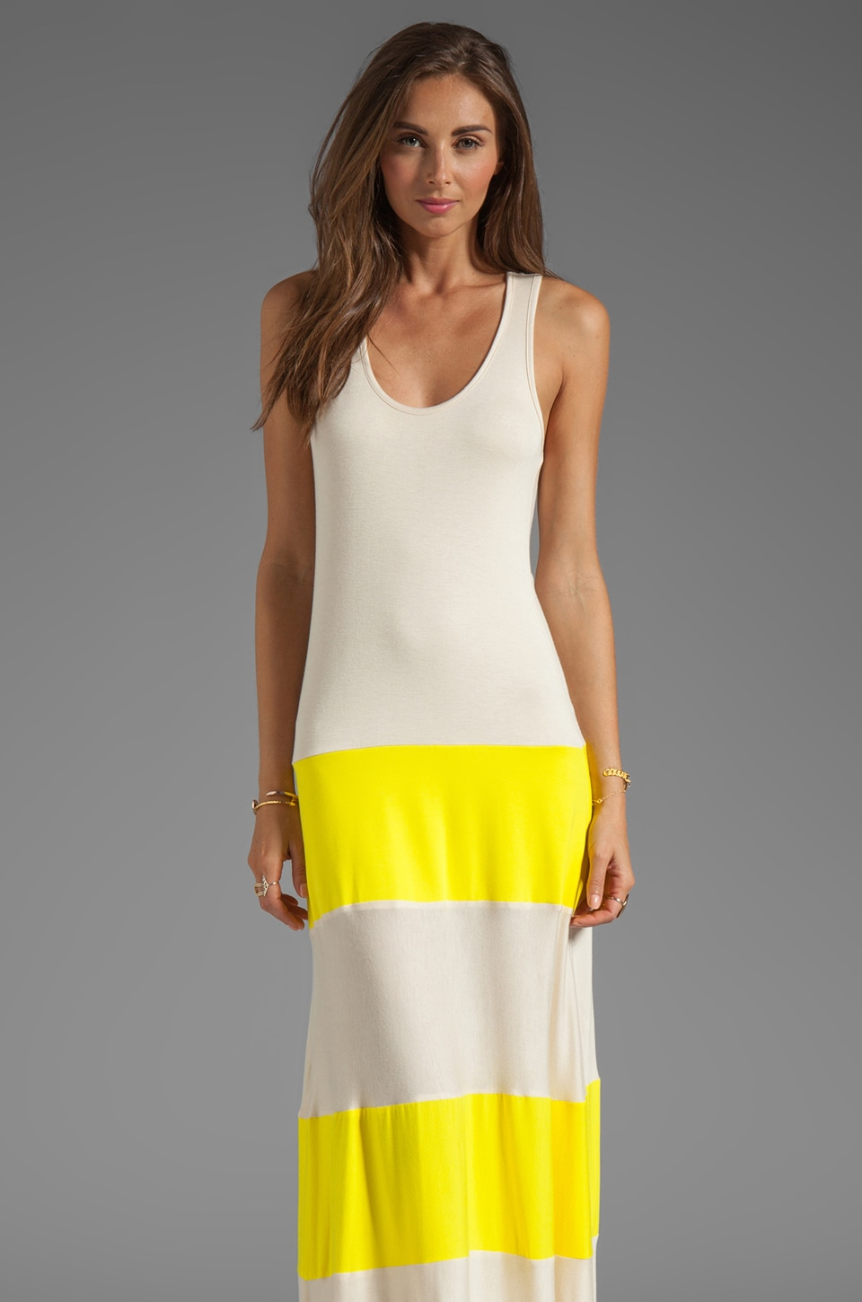 Karina Grimaldi Biscot Maxi Dress in Yellow/Nude Combo