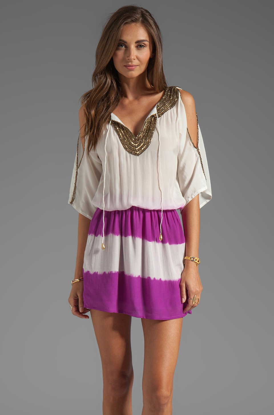 Karina Grimaldi Grecia Beaded Mini in Purple Tie Dye