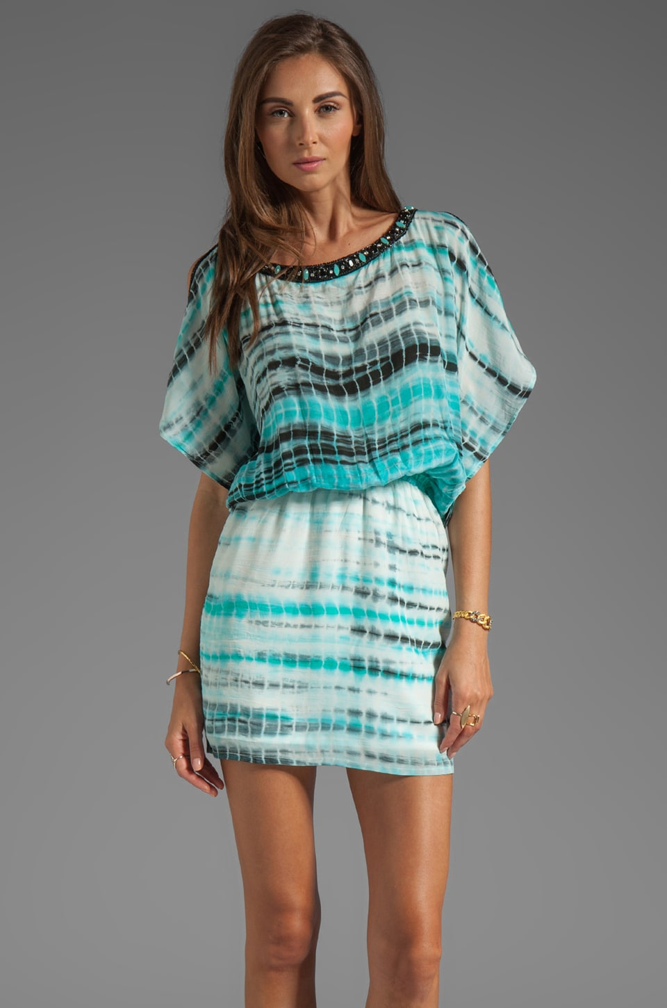 Karina Grimaldi Mayte Beaded Mini in Teal Tie Dye