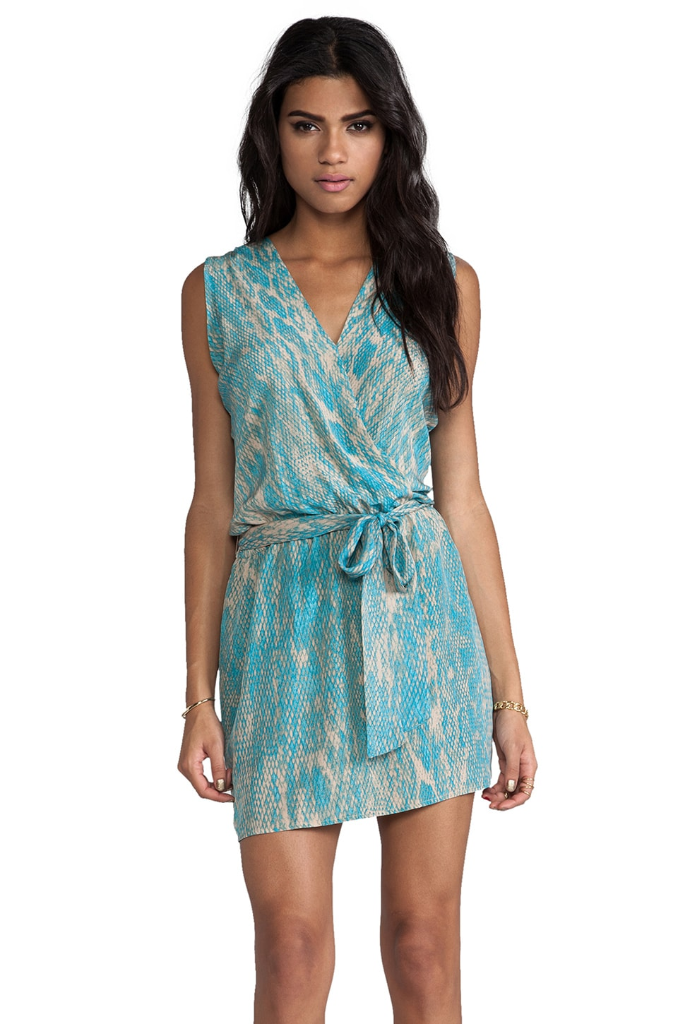 Karina Grimaldi Azalea Print Mini Dress in Turquoise Snake