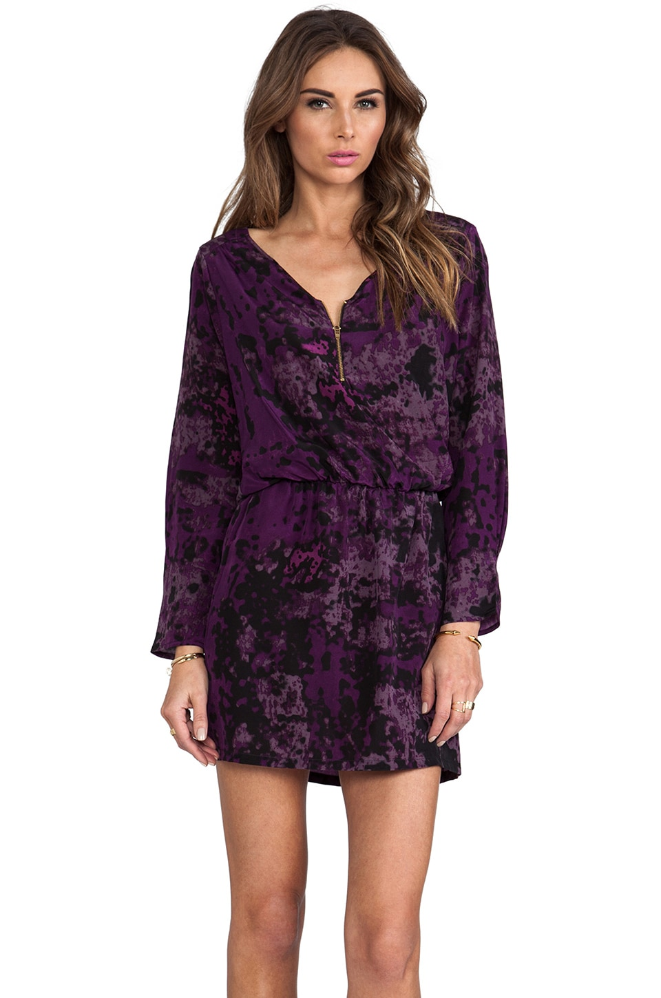 Karina Grimaldi Purple Silk Purple Granite Print Miranda Mini Dress in Purple Granite