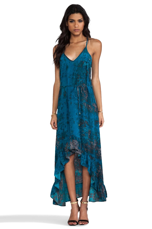 Karina Grimaldi Silk Teal Granite Print Romantic Maxi Dress in Teal Granite