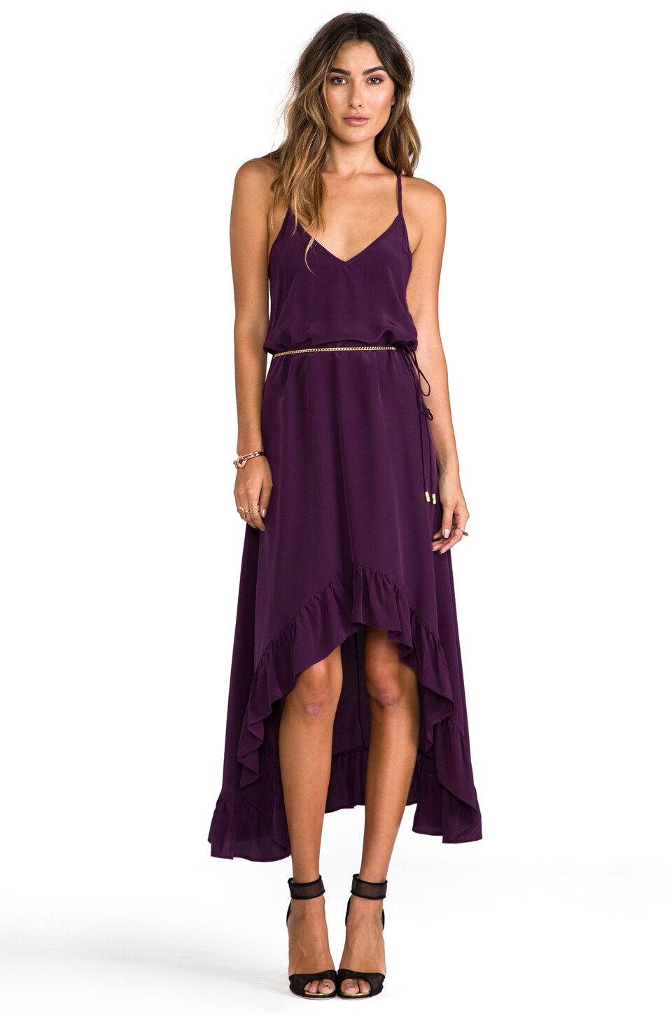 Karina Grimaldi Silk Solids Romantic Maxi Dress in Plum