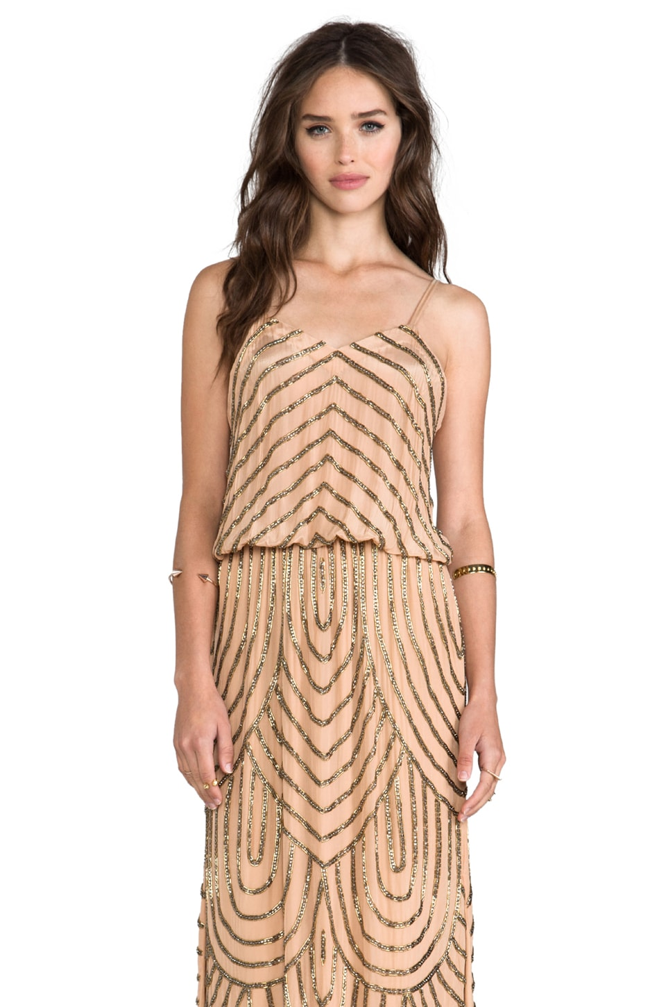 Karina Grimaldi Deco Beaded Maxi Dress in Nude
