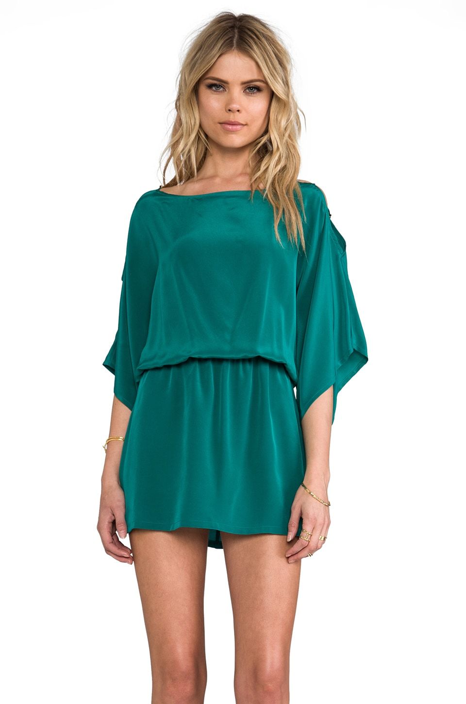 Karina Grimaldi Pampita Solid Mini Dress in Emerald