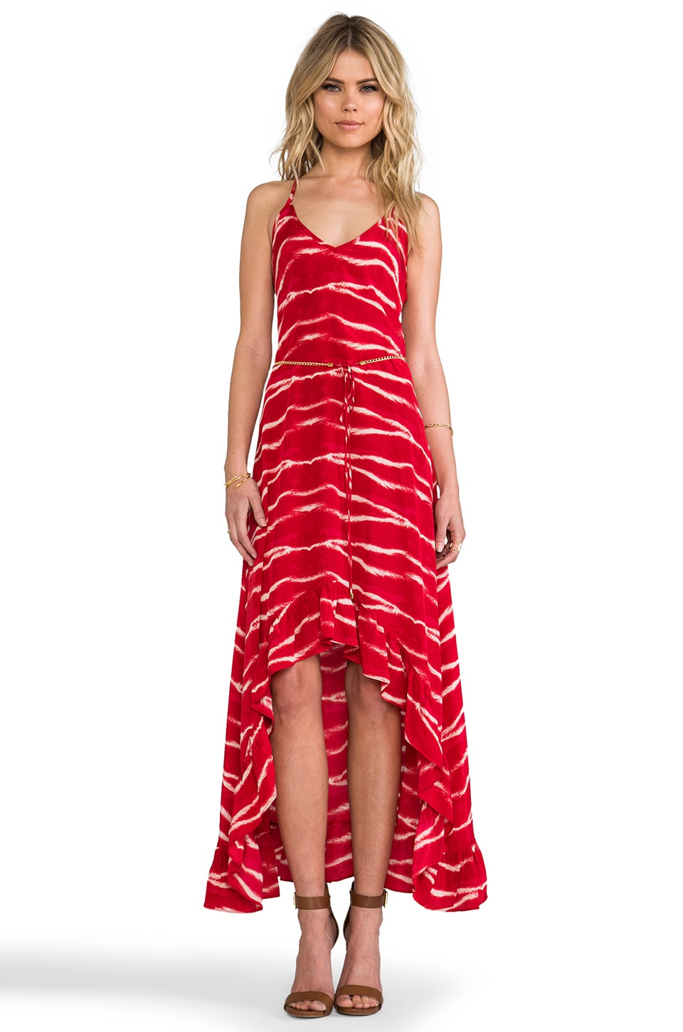 Karina Grimaldi Romantic Print Maxi in Ruby Tiger