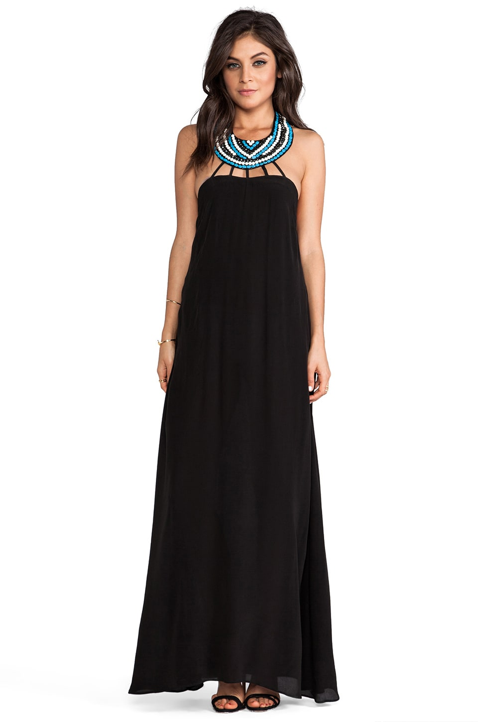 Karina Grimaldi Irenah Beaded Maxi Dress in Black
