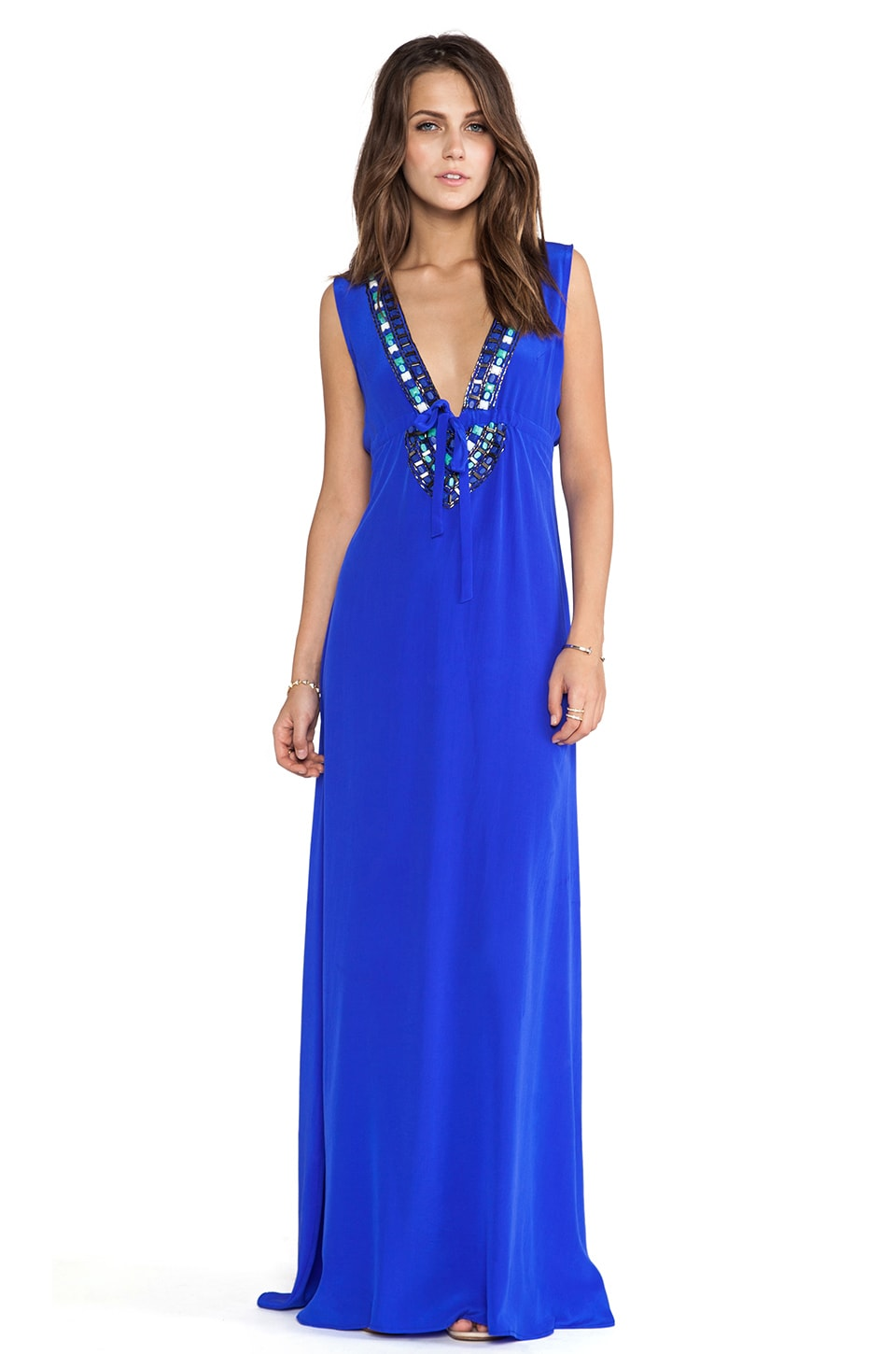 Karina Grimaldi Skyler Beaded Maxi Dress in Cobalt