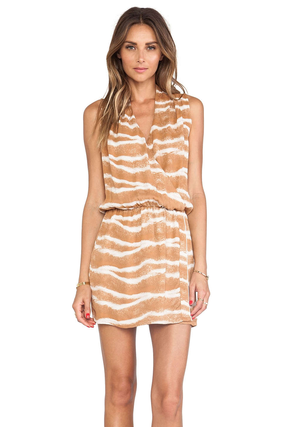 Karina Grimaldi Odella Printed Mini Dress in Light Kenya