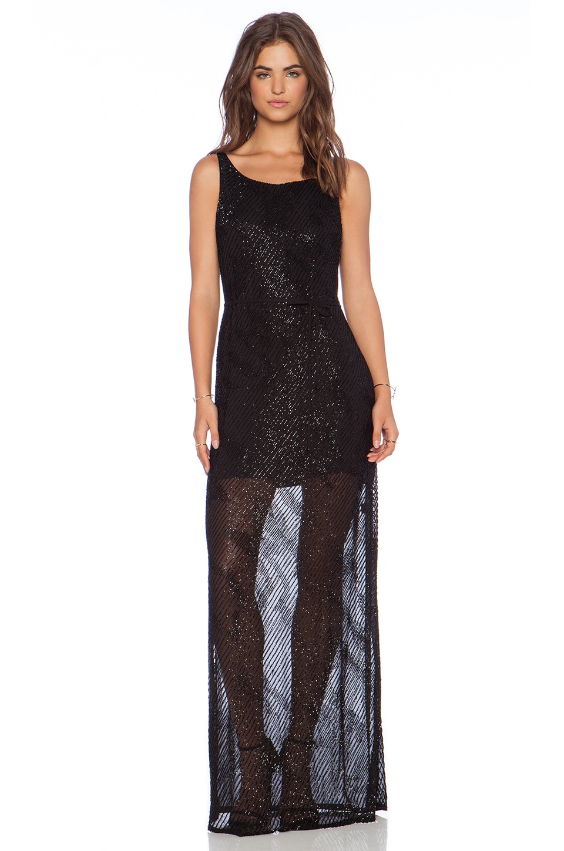 Karina Grimaldi Florencia Beaded Maxi Dress in Black
