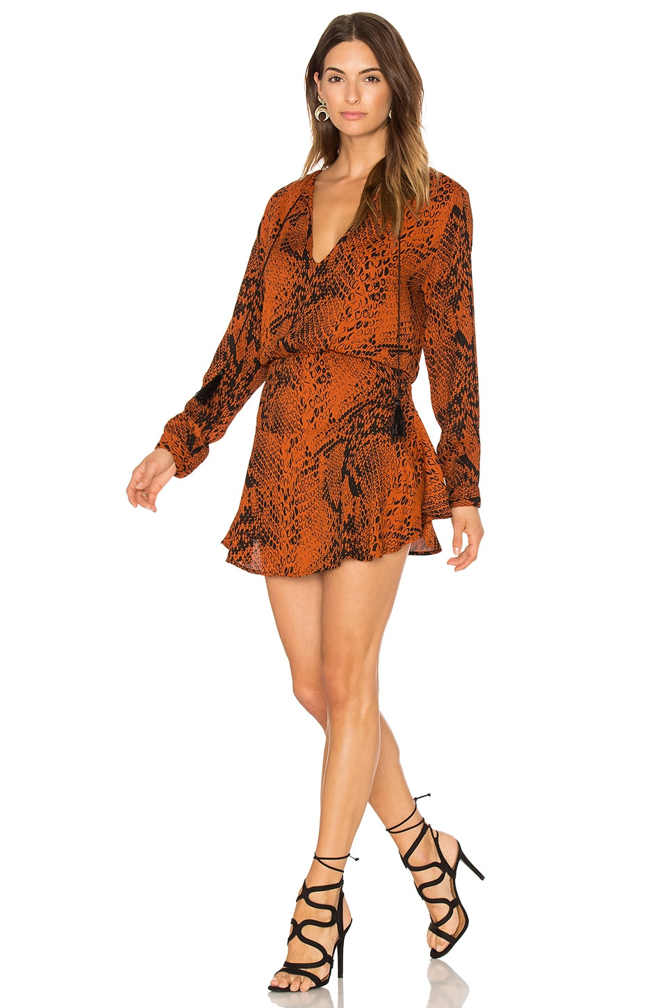 Karina Grimaldi Pilar Print Mini Dress in Rust Snake