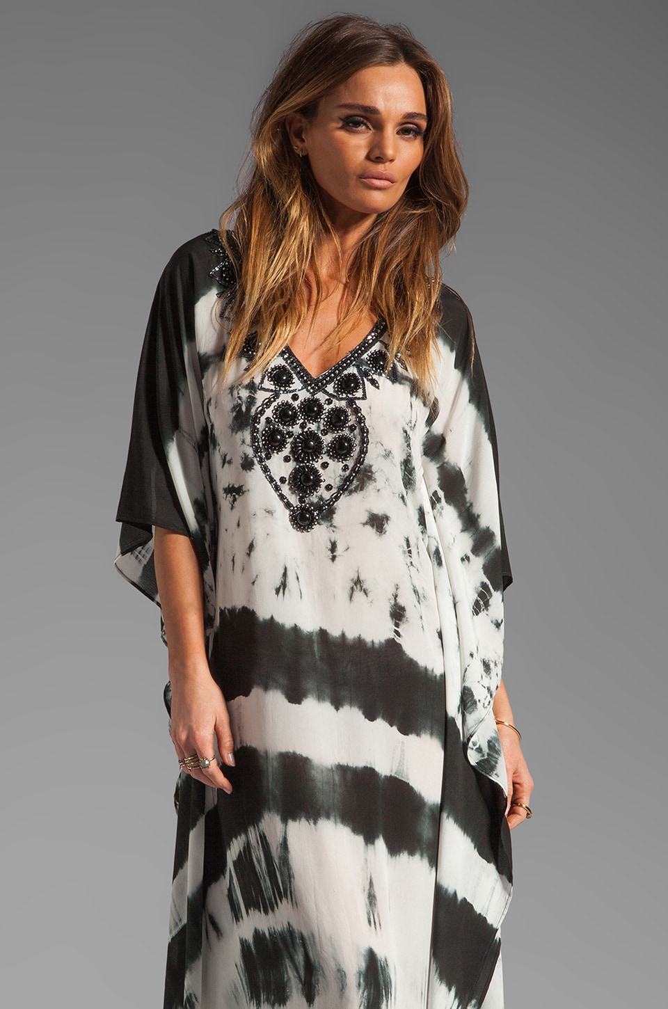 Karina Grimaldi Nassau Long Caftan in Black and White Tie Dye