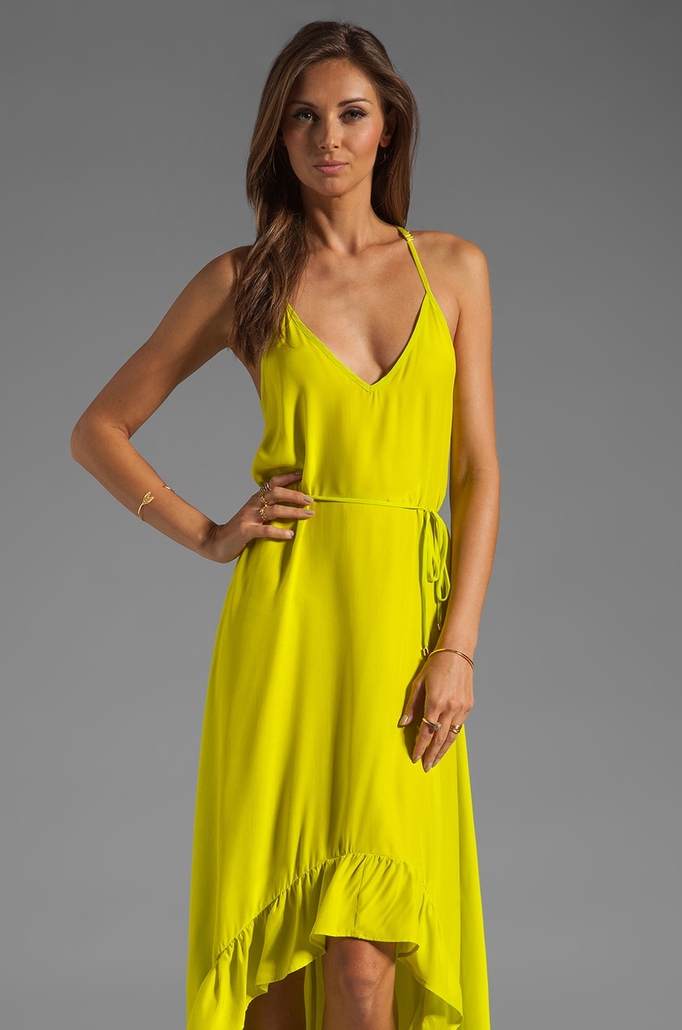 Karina Grimaldi Romantic Solid Maxi Dress in Neon Yellow