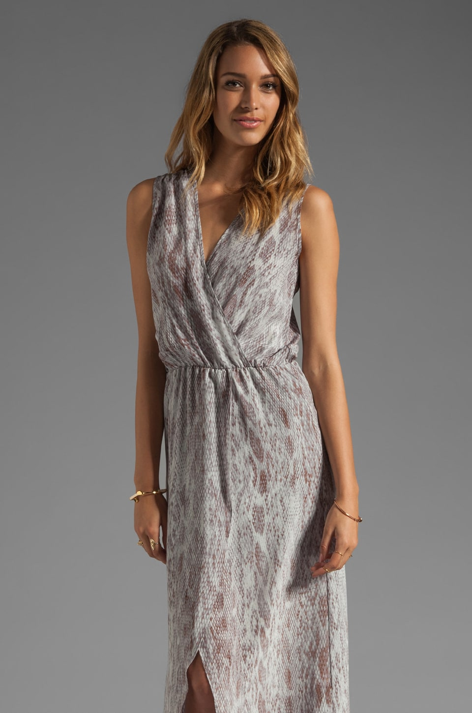 Karina Grimaldi Raffaela Print Maxi Dress in Grey Snake