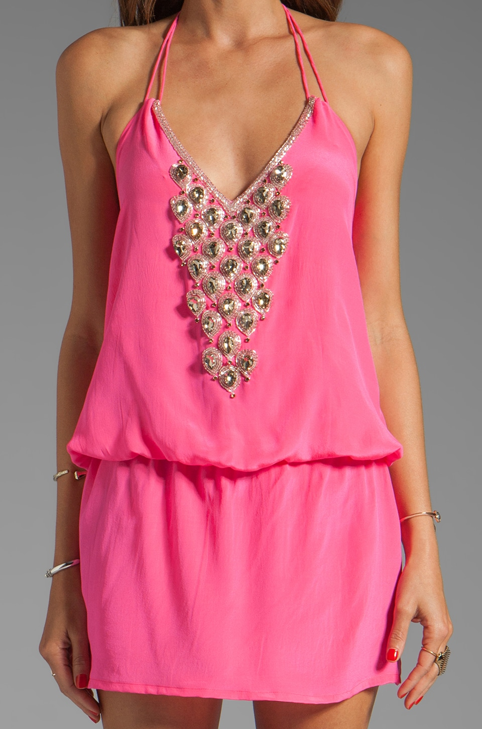 Karina Grimaldi Freeport Beaded Mini in Pink