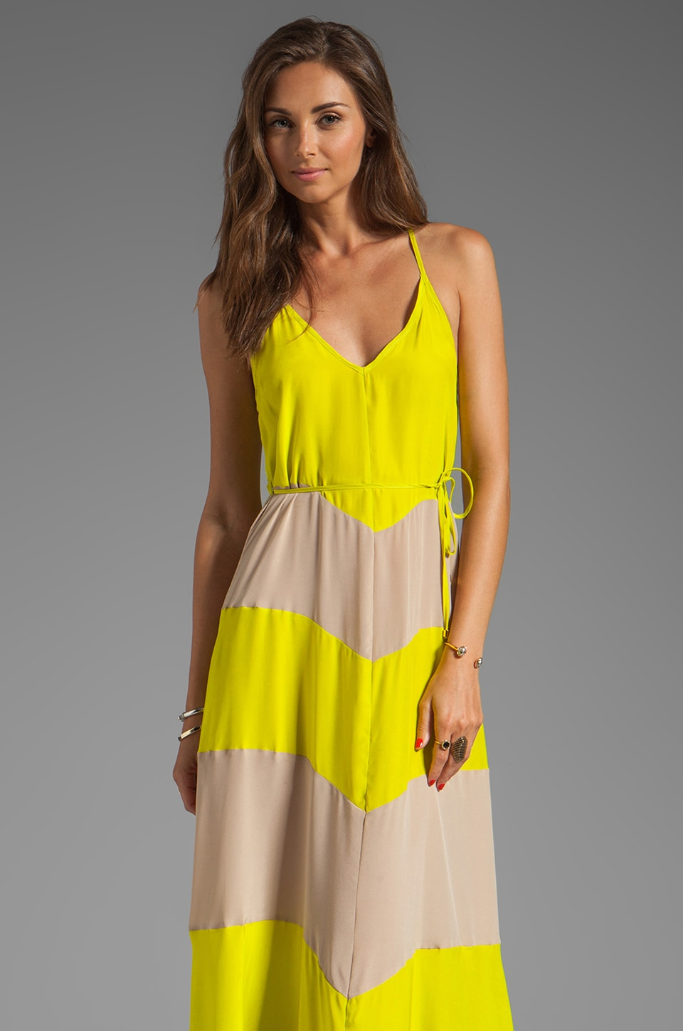Karina Grimaldi Somer Maxi Dress in Neon Yellow Combo