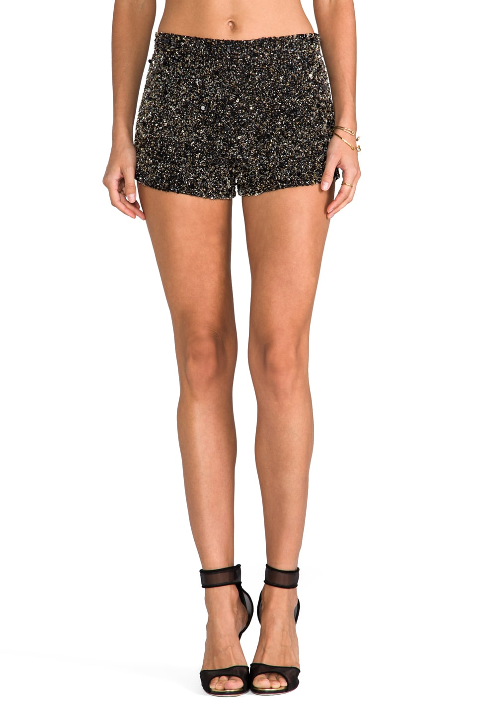 Karina Grimaldi Dallas Beaded Shorts in Black