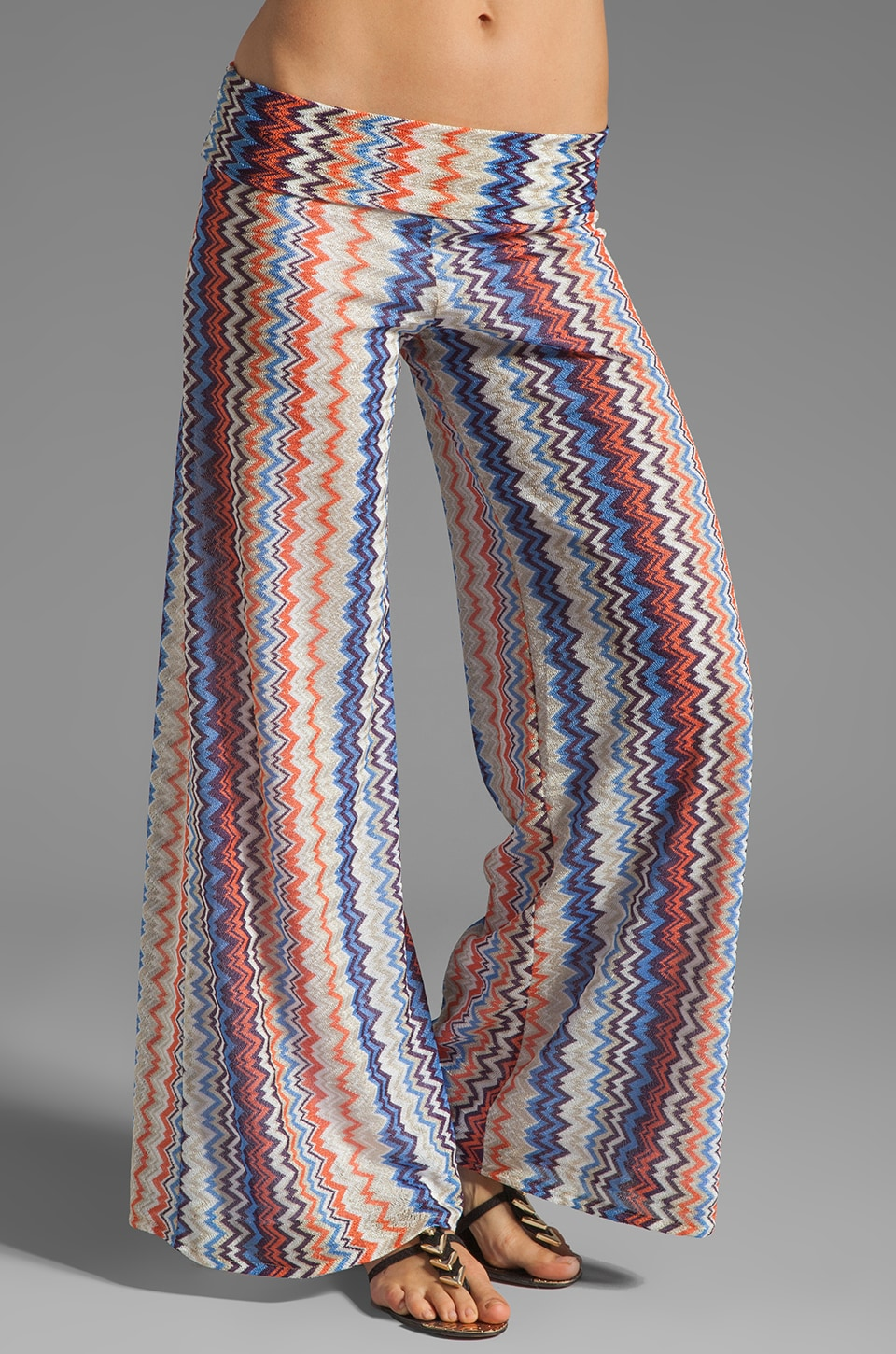 Karina Grimaldi Basic Knit Pants in Orange Blue Zig Zag