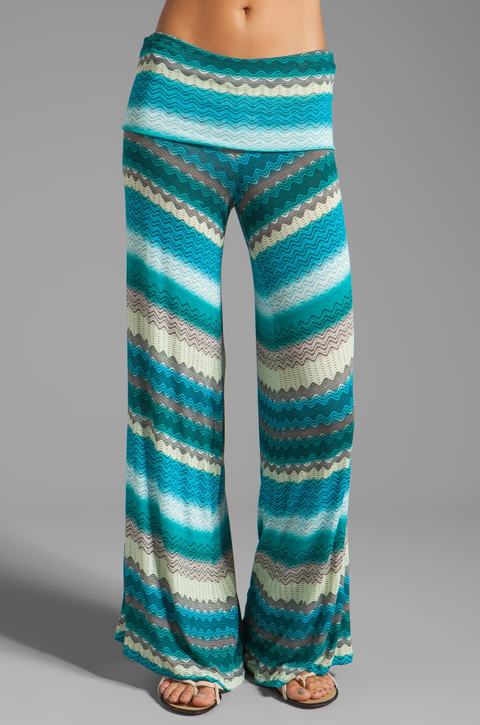 Karina Grimaldi Basic Knit Pants Print in Teal Zig Zag