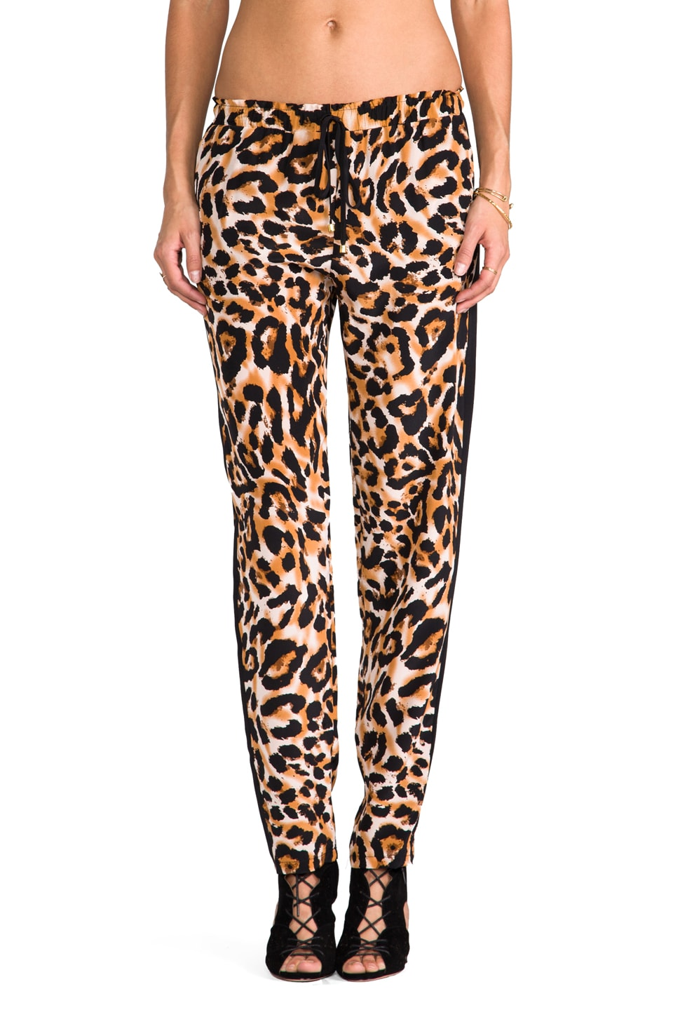 Karina Grimaldi Petunia Combo Pants in Animal Camel