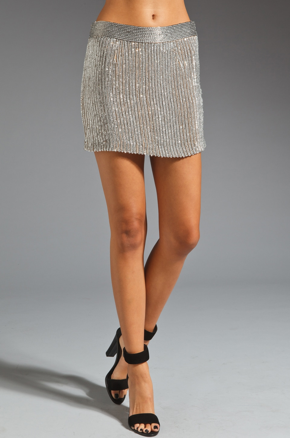 Karina Grimaldi Amy Beaded Mini Skirt in Silver