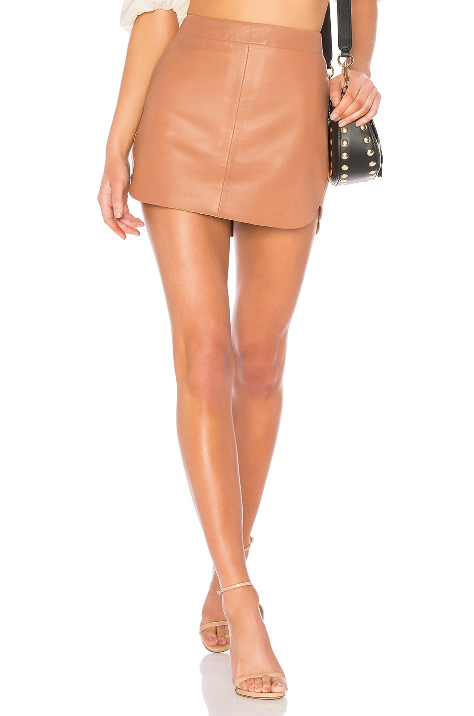 Karina Grimaldi Jacob Leather Skirt in Carmel