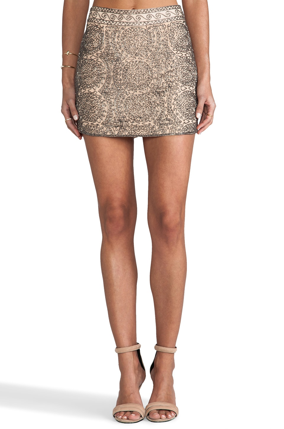 Karina Grimaldi Venus Beaded Mini Skirt in Nude