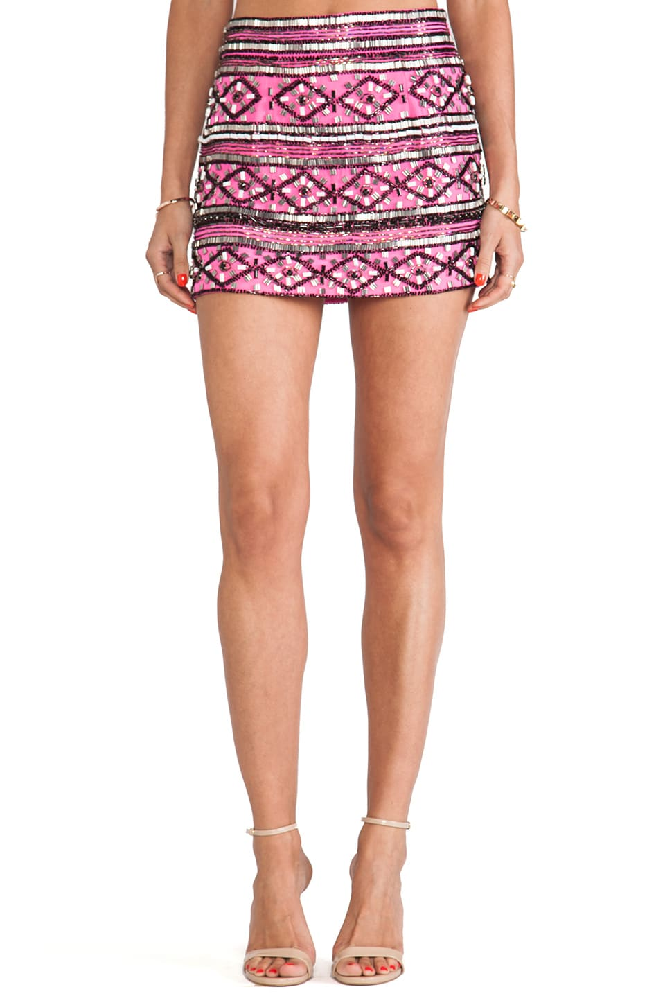 Karina Grimaldi Drew Beaded Mini Skirt in Mexican Pink