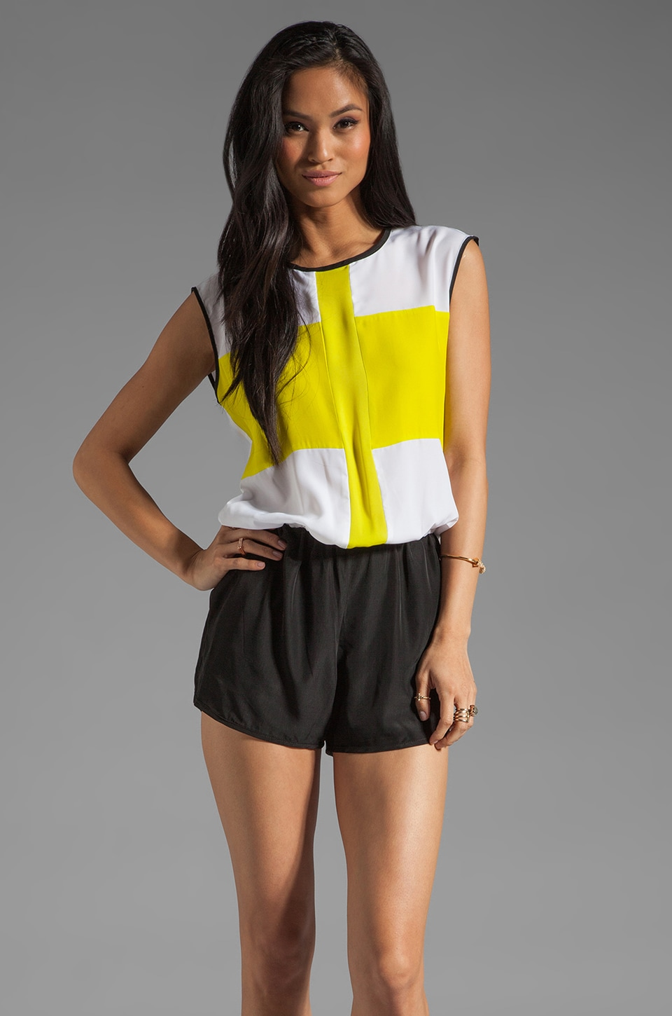Karina Grimaldi Sport Combo Romper Color Block in Neon Yellow