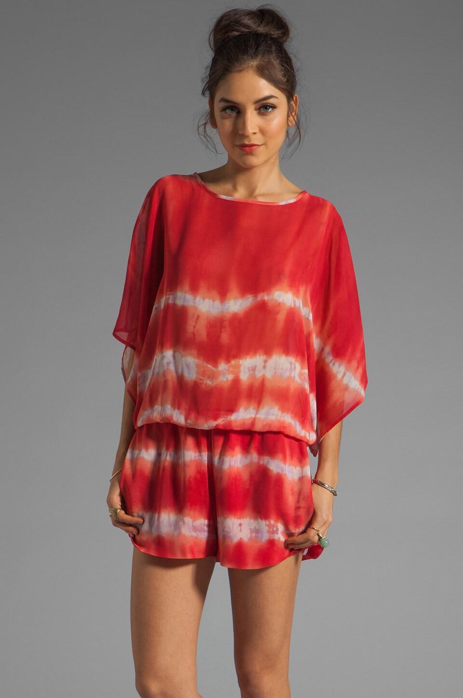 Karina Grimaldi Cozumel Print Romper in Red Tie Dye