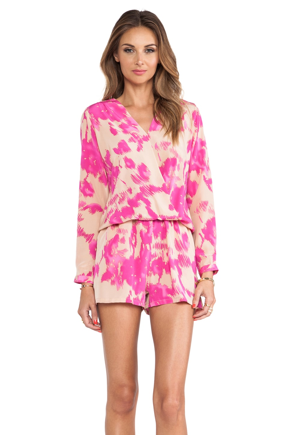 Karina Grimaldi Nelly Print Romper in Almond Flower