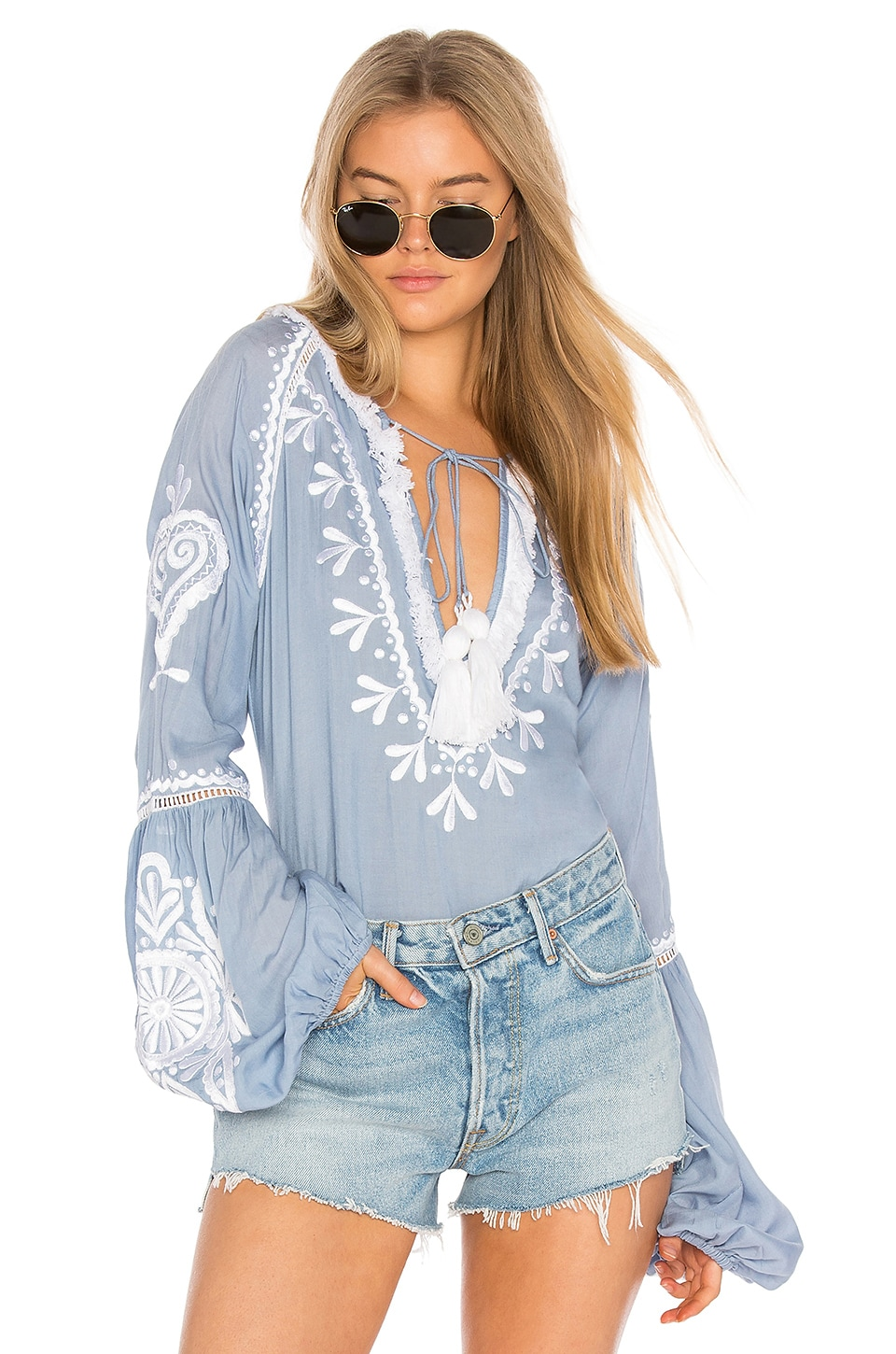 Karina Grimaldi Tom Embroidered Top in Chambre