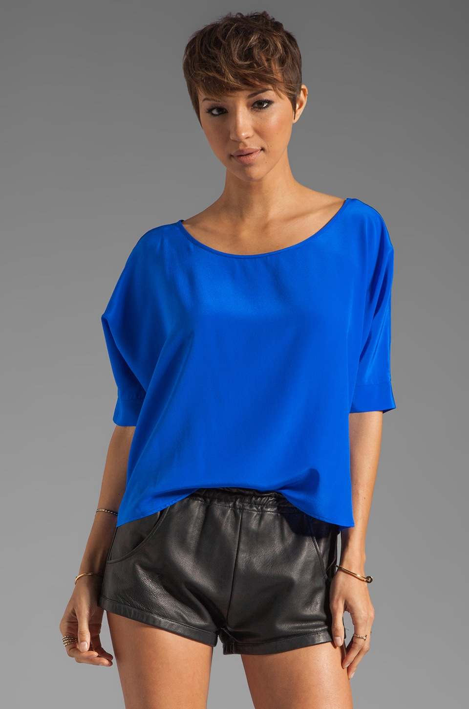 Karina Grimaldi St. Lucia Solid Zipper Top in Royal