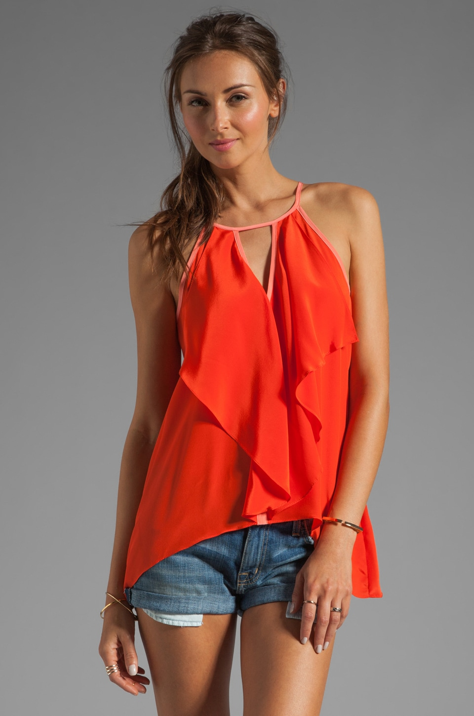 Karina Grimaldi Alli Solid Top in Orange