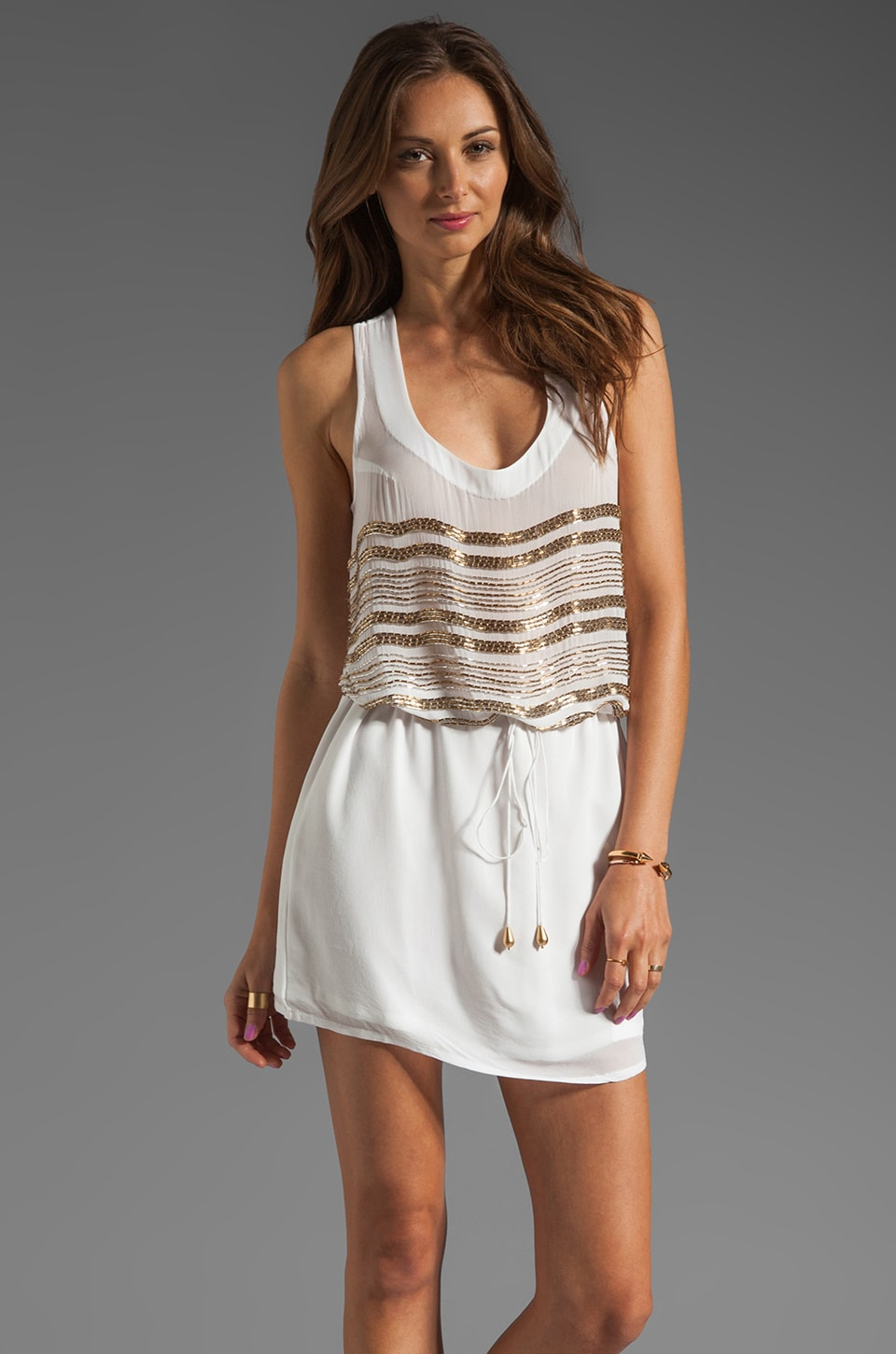Karina Grimaldi Margarita Beaded Mini Dress in White