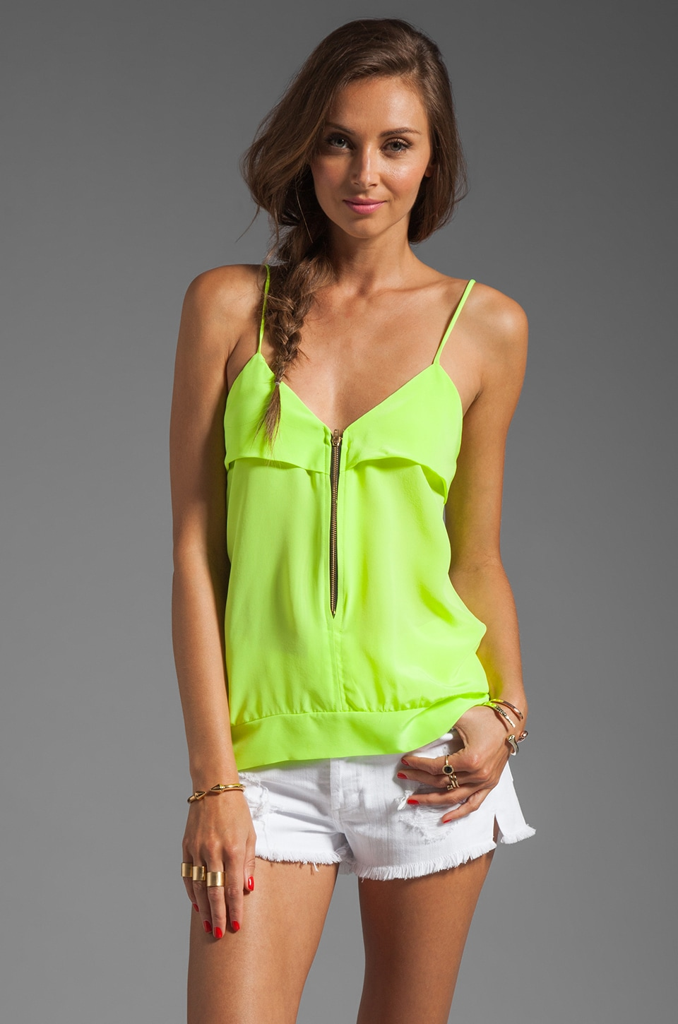 Karina Grimaldi Sophie Zipper Top in Neon Green