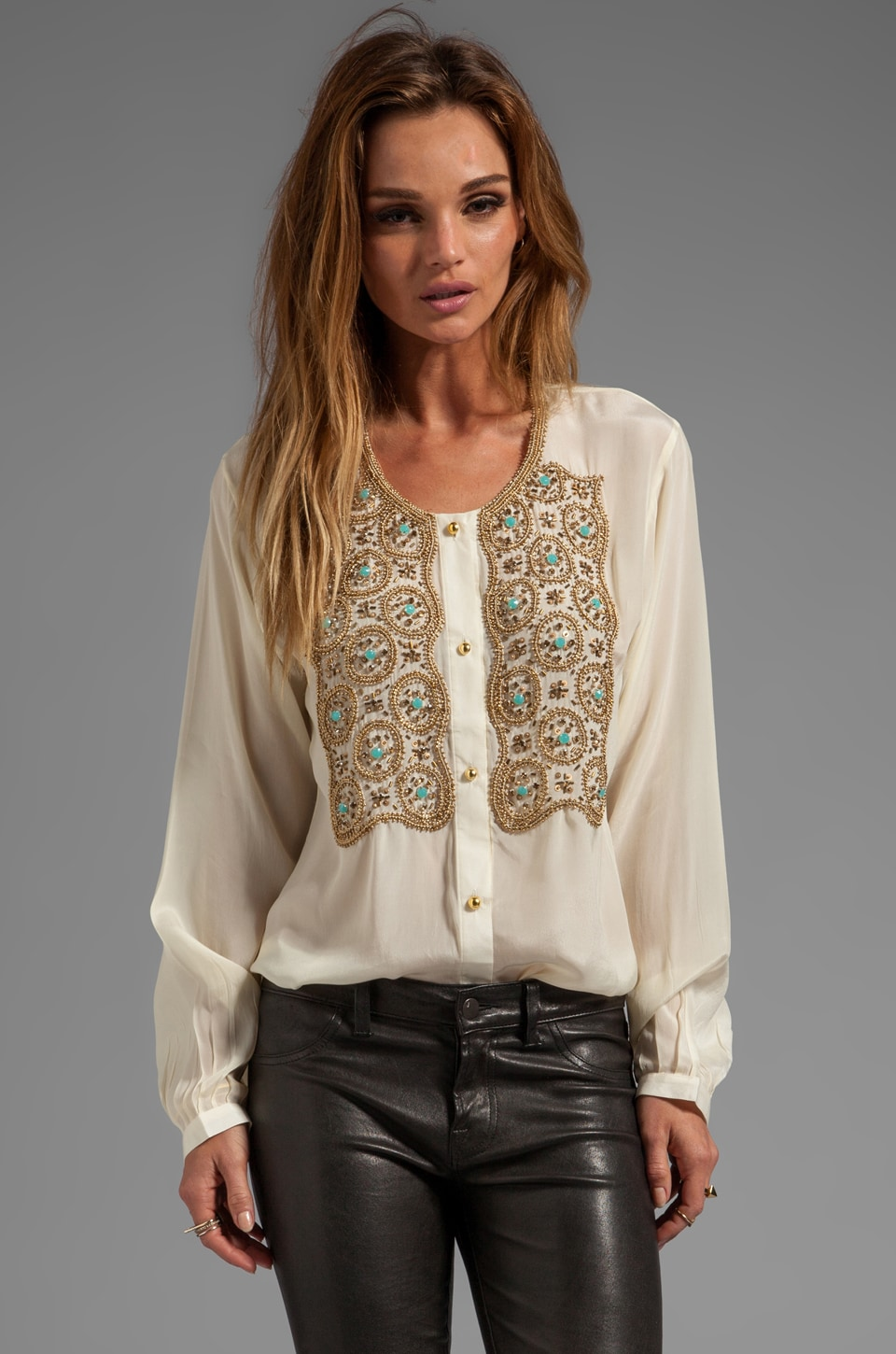 Karina Grimaldi Beaded Hera Top in Winter White