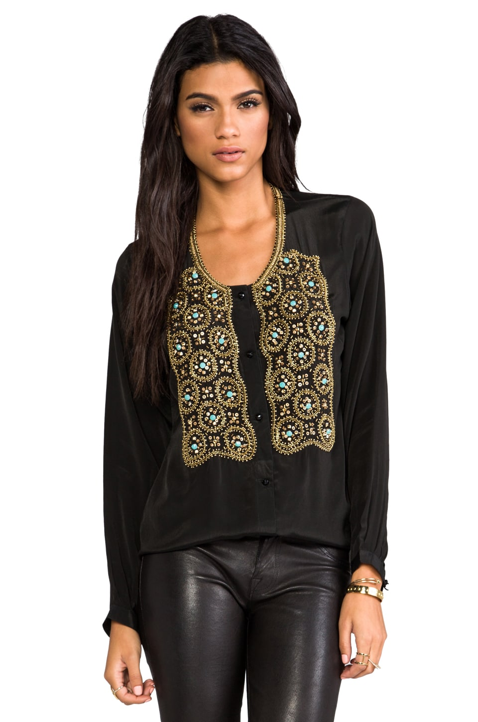 Karina Grimaldi Beaded Hera Top in Black