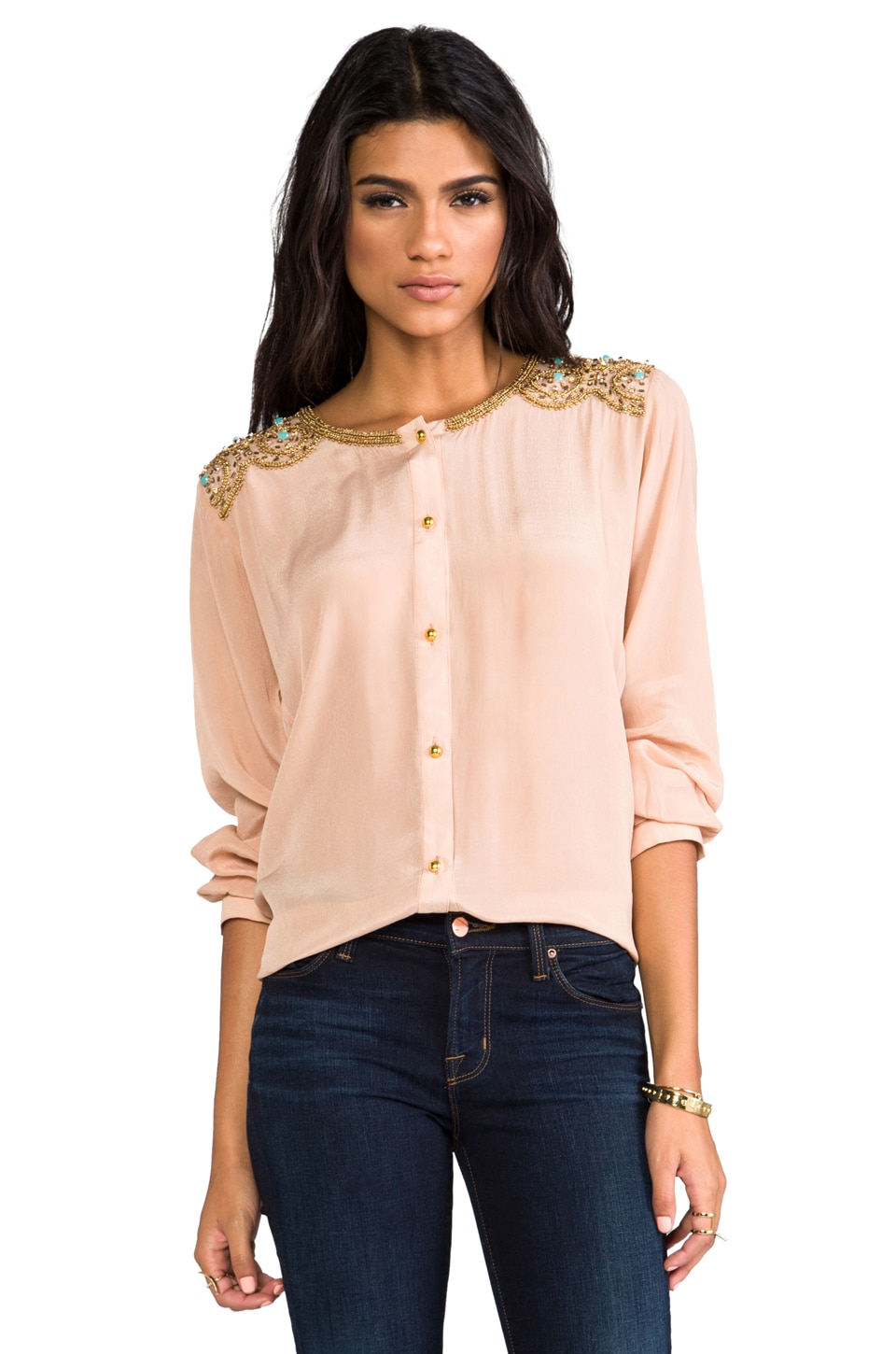 Karina Grimaldi Beaded Juno Top in Nude