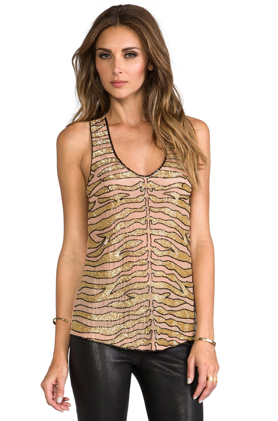 Karina Grimaldi Kenya Beaded Top in Nude