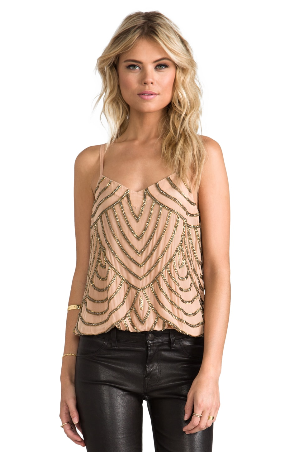 Karina Grimaldi Deco Beaded Camy in Nude