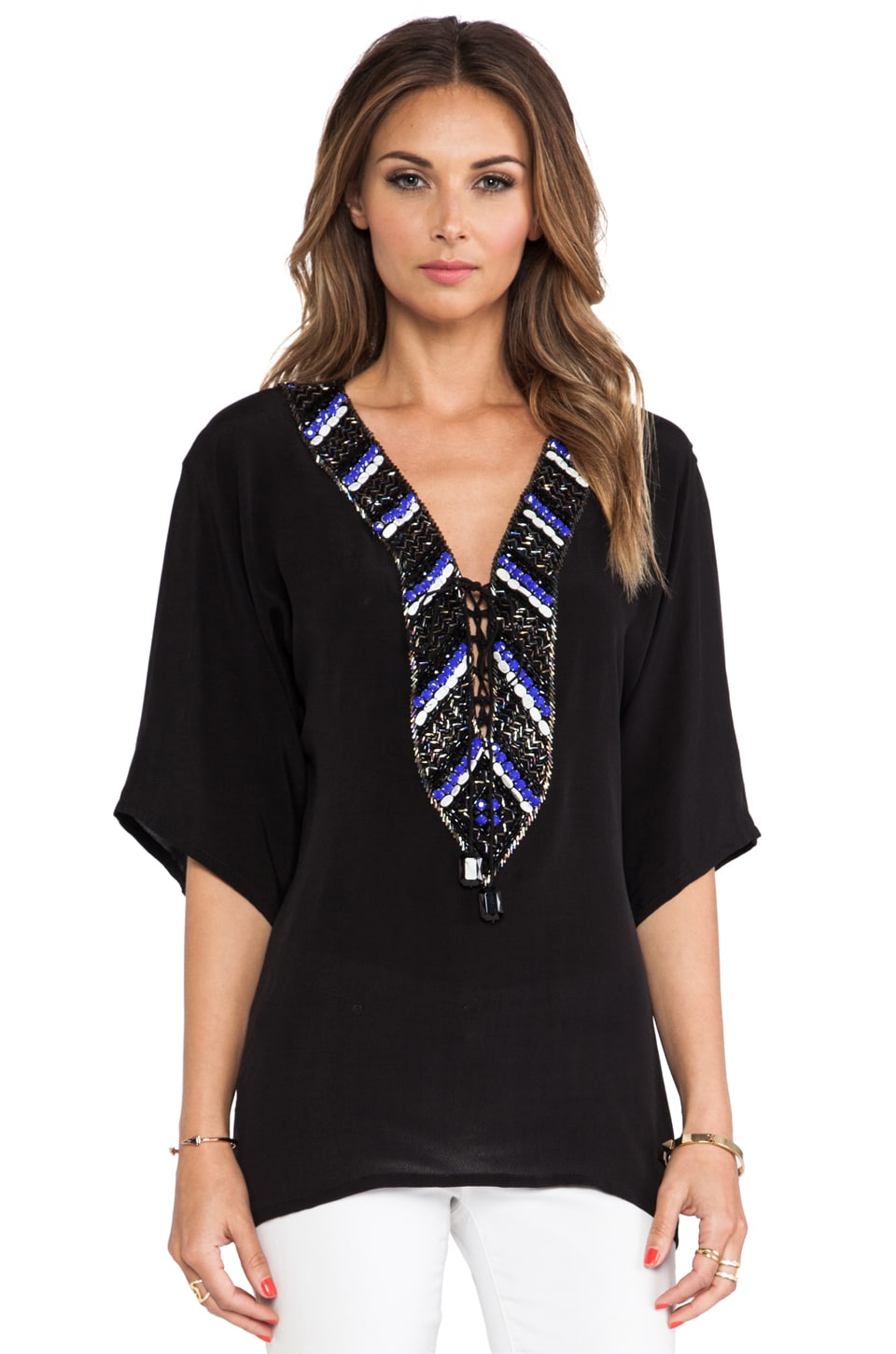 Karina Grimaldi Palmer Beaded Blouse in Black