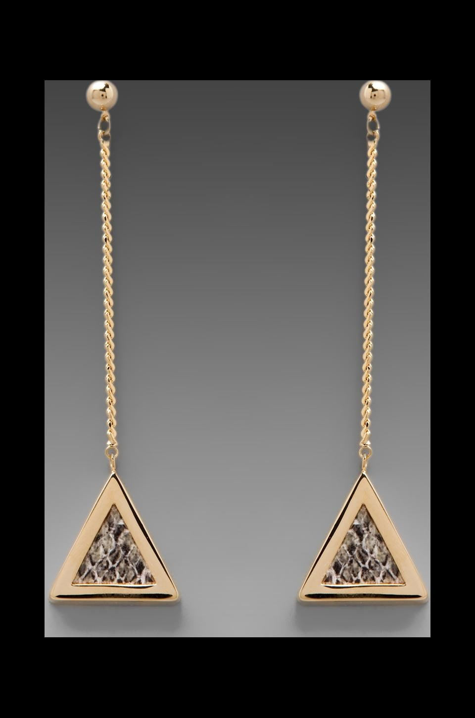 Roman Luxe Python Triangle Drop Chain Earrings in Gold