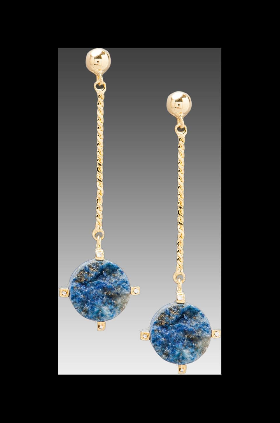 Roman Luxe Ball Drop Blue Lapis Earrings in Gold