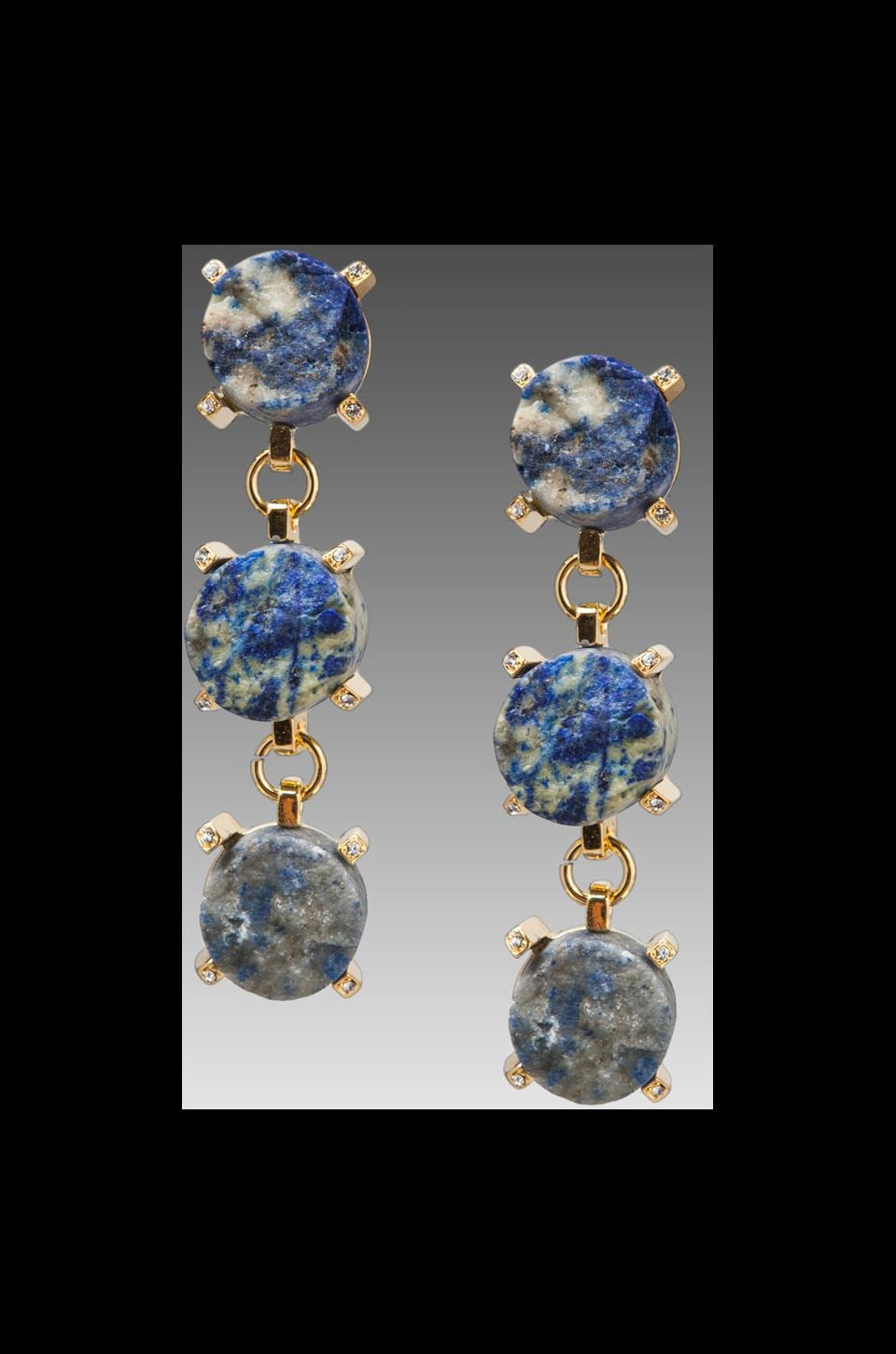 Roman Luxe Blue Lapis 3 Stone Drop Earrings on Gold
