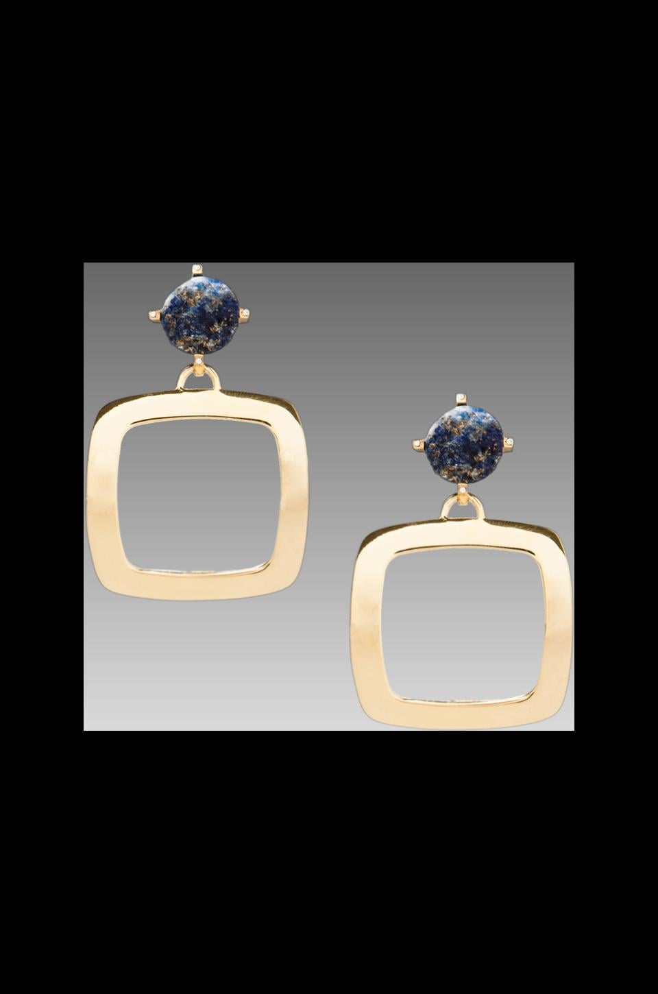 Roman Luxe Blue Lapis Square Drop Earrings in Gold